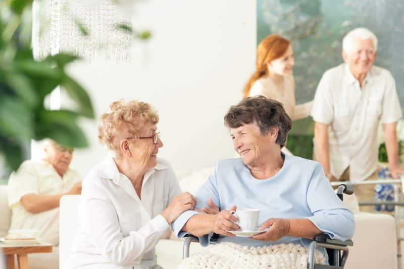 two elderly women in assisted living facility sydney